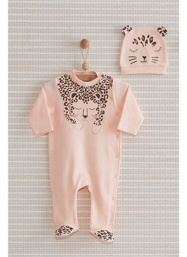 Nenny Baby Nenny Baby Leopar Kız Bebek Şapkalı Patikli Tulum Set Nb-309 Somon